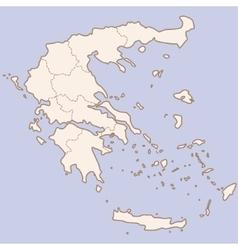 Greece contour map vector image vector image
