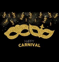 Happy carnival gold glitter mask costume design vector