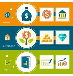 Investment fund profit horizontal banners vector