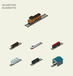 isometric wagon set of lumber shipping railroad vector image