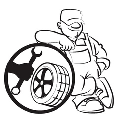 Master of repair of tires vector image vector image