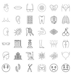 Medico icons set outline style vector
