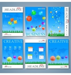 Modern set of brochures magazine flyer vector