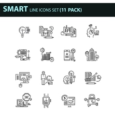 Modern thin line icons set for business vector image