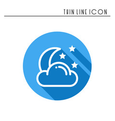 moon night line simple icon weather symbols vector image
