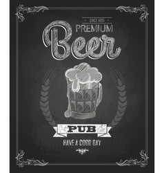 Poster with Beer in mag Chalk drawing vector image vector image