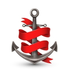 Realistic anchor with red ribbon vector