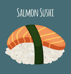 salmon sushi - asian food with fish rice vector image vector image