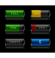 Set of battery level icons vector
