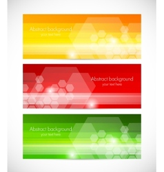 Set of tech banners with hexagons vector