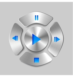 Shiny metal media player joystick vector