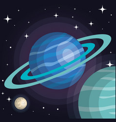 Space planets cosmos galaxy stars design vector