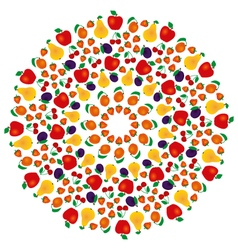 Summer fruity mandala coloring book colored vector