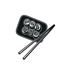 Sushi simple black icon on white background vector image