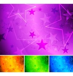Vibrant star backgrounds vector
