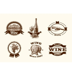 Wine sketch labels vector image