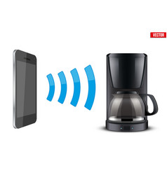 Wireless controlling coffee maker with smartphone vector
