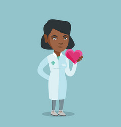 Young african doctor cardiologist holding heart vector
