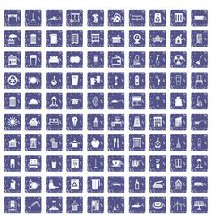 100 cleaning icons set grunge sapphire vector image vector image