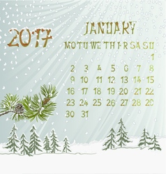 Calendar january 2017 and pine branch vector