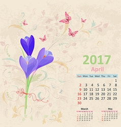 Lovely bouquet of crocus on grunge background vector