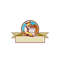 Organic farmer harvest basket circle ribbon retro vector