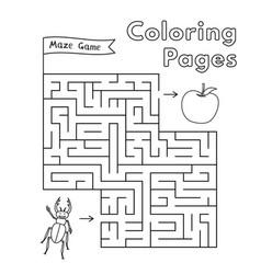 Cartoon beetle maze game vector
