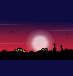 Silhouette of pumpkin in the grave scenery for vector
