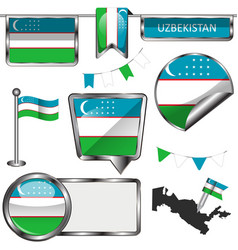 Glossy icons with flag of uzbekistan vector