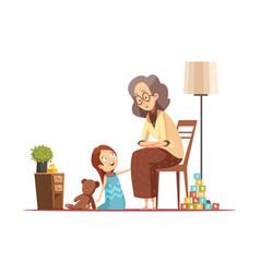 grandmother with child retro cartoon vector image