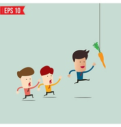 Businessman try to reach carrot - - eps10 vector