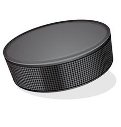 Black hockey puck vector