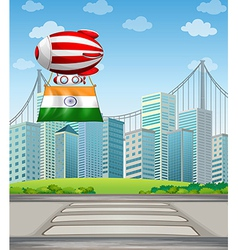 An air balloon in the city with the flag of india vector