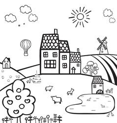 farm black and white landscape vector image