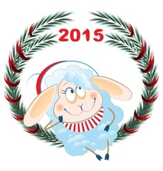 Lamb and christmas wreath symbol 2015 vector