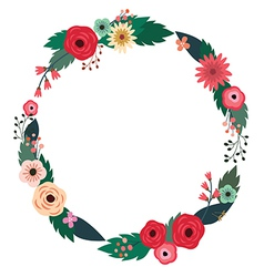 Floral wreath with roses vector