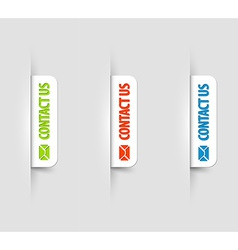 white contact us Labels Tags on the web page vector image
