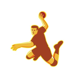 Handball player jumping striking retro vector