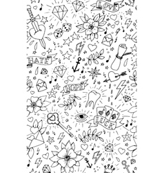 Hand drawn tattoo seamless pattern vector