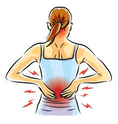 Woman back ache vector
