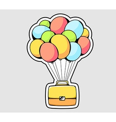 Yellow briefcase flying on color balloons vector