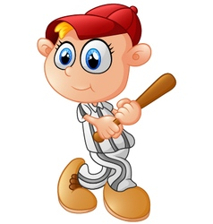 Young boy playing baseball vector