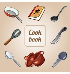Cookbook set eight icons of dishes vector