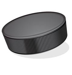 Black hockey puck vector