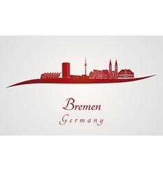 Bremen skyline in red vector image vector image