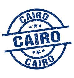 Cairo blue round grunge stamp vector