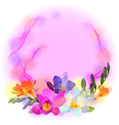 card with freesia flowers vector image vector image