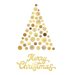 Christmas tree with gold glitter hand lettering vector