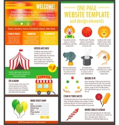 Circus website page vector