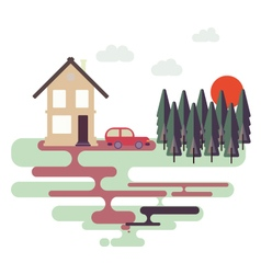 Colorful flat design nature landscape vector